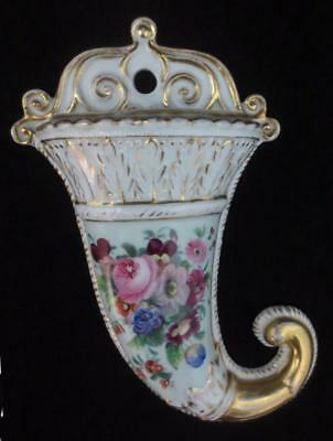 "Antique ""OLD PARIS"" Hand Painted French Porcelain CORNUCOPIA WALL POCKET VASE"