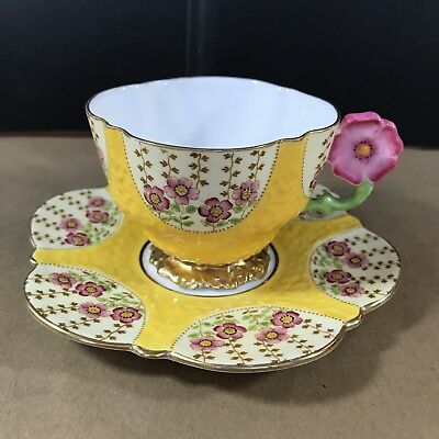 Rare 1930'S Aynsley Cup & Saucer Yellow Hand Painted With Pink Flower Handle