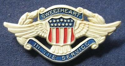 """Wwii """"sweetheart In The Service"""" Pin Red White & Blue Plastic Badge"""