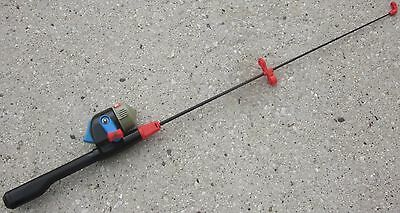 "1987 PLAYSKOOL Fishing Rod Child's 39.5"" Lng Spincast Casting Reel RETIRED Works"