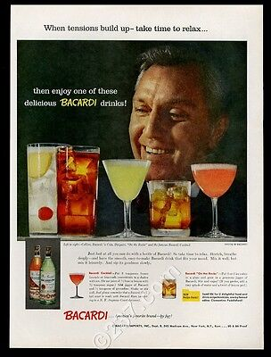 1957 Bacardi Rum Collins Cola Daiquiri Cocktail drinks photo vintage print ad