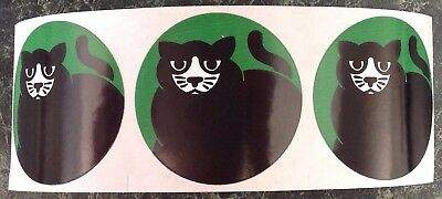 "3 Vintage 80s Black & White Cat Roll Stickers Strip Lot~HALLOWEEN~1.75""~Rare~.99"