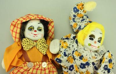Pair of Colourful Clowns or Jokers with Porcelain Heads, Sand Bodies 19cms SA148