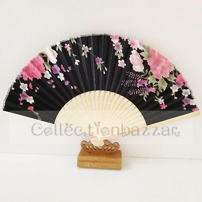 Black Chinese Bamboo Folding Silk Floral HAND FAN for Wedding Party Gift