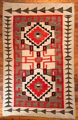 Superb Large J.B. Moore Historic Crystal Trading Post Navajo Rug,Excellent,c1905