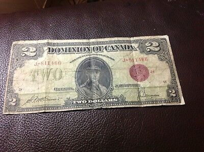 1923 2 dollar bill Red Seal Dominion of Canada
