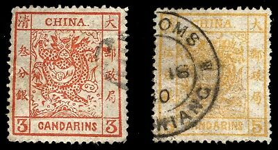 CHINA, 2 USED 19th Classic Dragon Stamps!