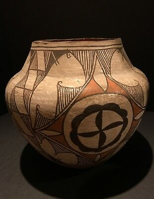 Outstanding Historic Acoma Polychrome Pottery Jar w/ Medallions,Excellent, c1910