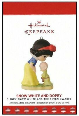 2017 Hallmark Disney Precious Moments Snow White and Dopey Porcelain Ornament!
