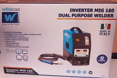 WELDCORP INVERTER MIG 160 DUAL PURPOSE WELDER Made in Italy Gas / Gasless