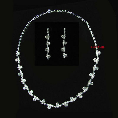 TN001 Wedding Bridal Bridesmaid Prom Party Pageant Crystal Necklace Earing Set