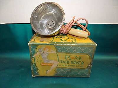 Vintage Quack Medical KM Hair Dryer & Infra Red Lamp Great Condition W/Box Works