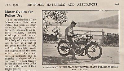 "Original 1922 Massachusetts State POLICE ""INDIAN SCOUT"" Motorcycle PHOTO"