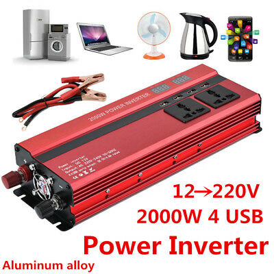 2000W 50Hz Car LED Power Inverter Converter DC 12V To AC 220V 4 USB Port Charger