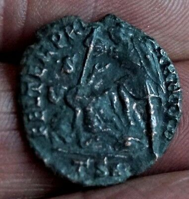 CONSTANTIUS II. SOLDIER SPEARING FALLEN HORSEMAN . 337-361 AD, 3.2gm, 21mm.