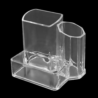 Clear Acrylic Makeup Desk Storage Box Cosmetic Brushes Pen Holder Case Organizer