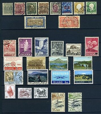 Iceland early to modern group 1900's used with a few mint