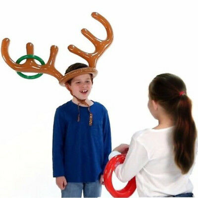 Reindeer Inflatable Christmas Hat Antler Ring Toss Holiday Party Game Toys C