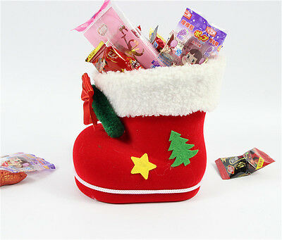 Cute 1pc Santa Claus Boot Candy Gift Bag Sack Stocking Filler Xmas Ornament New