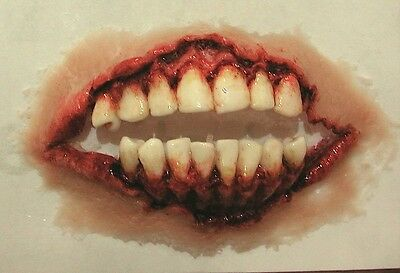 Zombie mouth/teeth pre painted / Film Prosthetic /Halloween.