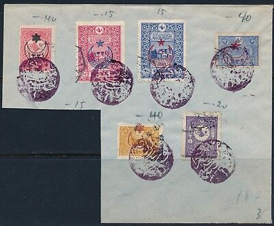 TURKEY 1900's , EARLY PHILATELIC LOT W/ 6 STAMPS & CANCELS TO BE IDENTIFIED.#L37