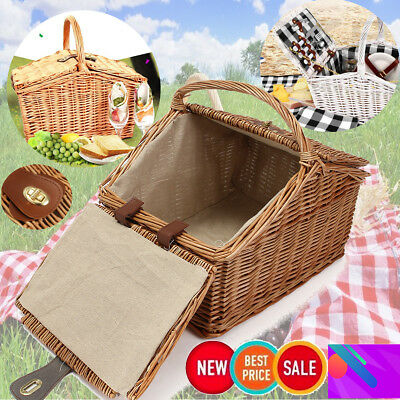 Deluxe 2 Person Wicker Picnic Basket Carry-on Hamper Park Outdoor Leather Button