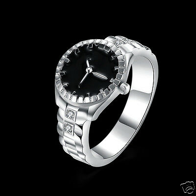 New Women Jewelry Watch Shape Ring Silver Plated Zircon Round Finger Ring Watch