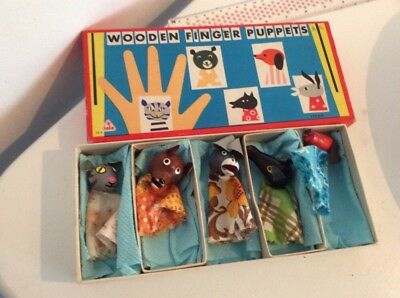 Vintage tofa wooden Finger puppets Made In Czechoslovakia Boxed