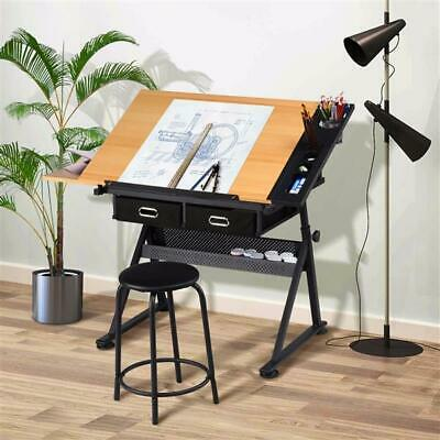 Adjustable Drafting Table Art Craft Drawing Board w/Stool Architect Desk Stand