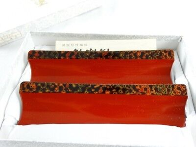 Very fine Vintage Japanese marbled Red lacquerware Chopsticks rests in Box