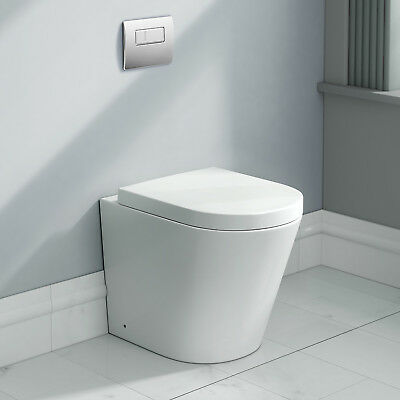Modern Designer Ceramic White Back To Wall Toilet Bathroom WC Pan Seat White NLT