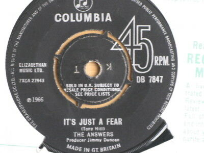 "The Answers ""it's Just A Fear""  Pop Rock 1966 Excellent + Condition Columbia"