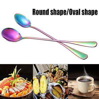 Colorful Stainless Steel Long Handle Tea Coffee Ice Cream Spoon Tableware Craft
