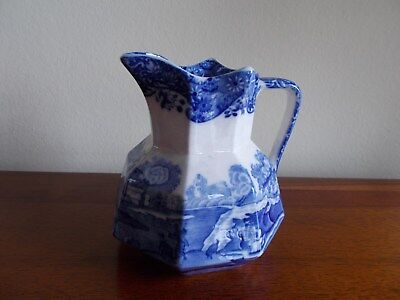 """Vintage Spode Blue & White Jug """"spodes's Italian"""" Scenes - Made In England - Vgc"""