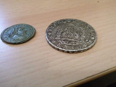 two coins 1 Mexico 8 Reales Treasure Coin 1739 ? ? ?