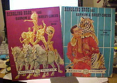 2 Ringling Bros And Barnum & Bailey  Nos 1965-1966 Circus Programs +Great Adds K