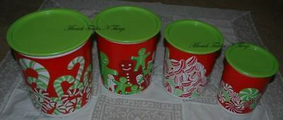 Tupperware Christmas Candy Canes Canister Set Of Four  Green Red Gifts