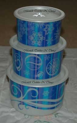 Tupperware Christmas Canister Set Of 3 Stacking Baubles Pearl Snowflakes Gifts