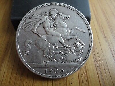 1900 Lxiv   Victoria Veiled Head  Silver Crown       Nice Coin