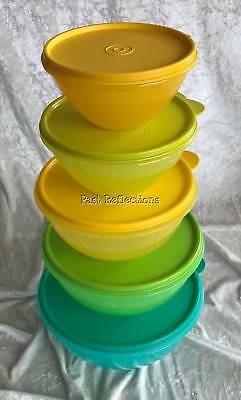 Tupperware Wonderlier Set Of 5 Mixing Bowls Egg Yellow Teal Parrot Green Lime