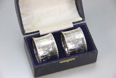 Lovely Vintage Boxed Pair Sterling Silver Napkin Rings Excellent Condition 1946