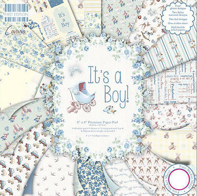 Dovecraft First Edition 8x8 Paper Pad - IT'S A BOY - Scrapbooking Cards