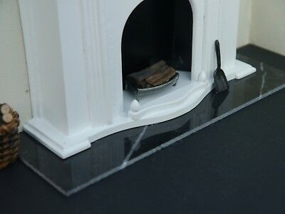 REAL Black Marble 1:12th Scale Miniature / Dolls House Fireplace Hearth