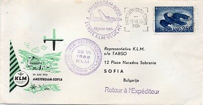 "First flight cover ""AMSTERDAM to SOFIA (BULGARIA) via K.L.M."