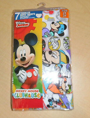 Mickey Mouse Briefs Disney 7 Cotton Toddler Boys 2T 3T NIP White Yellow Blue