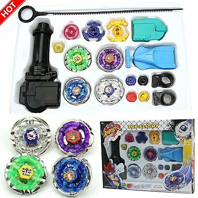 Top Fusion Metal Master Fight Rapidity Rare 4D Beyblade Launcher Set Kid Toy Lot