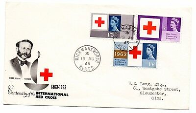GB 1963 Red Cross Centenary FDC Rickmansworth cds postmark. Typed address VGC