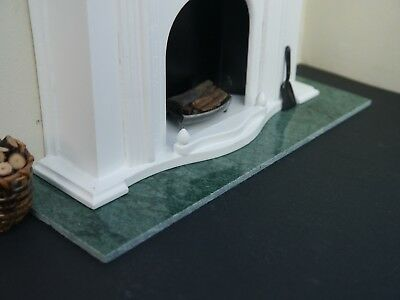 REAL Royal Jade Green Marble 1:12th Scale Dolls House Fireplace Hearth