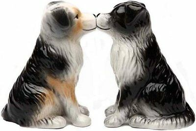 Australian Shepherd Aussie Kissing Magnetic Ceramic Salt  Pepper Shakers Figurie