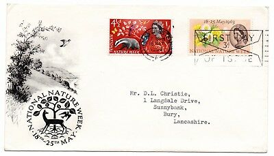 GB 1963 National Nature Week FDC Manchester FDI slogan postmark Typed address